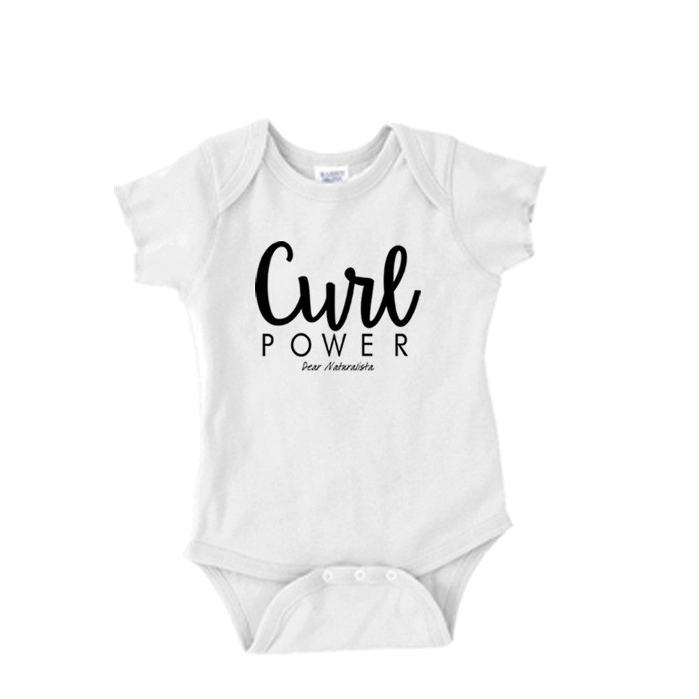 Infant Curl Power Onesie-White and Heather Gray