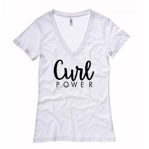 Women's Curl Power Fitted Deep V-Neck T-shirt