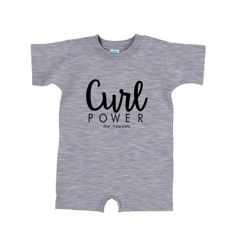 Infant Curl Power Romper- white and heather gray