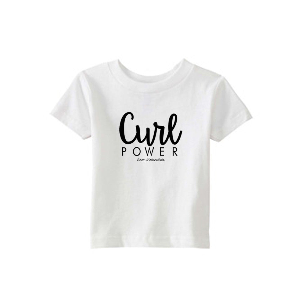 Infant Curl Power T-shirt- White and Heather Gray