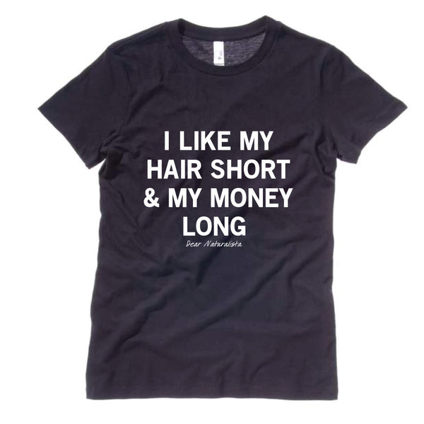 Women's Hair Short Money Long T-Shirt-Black