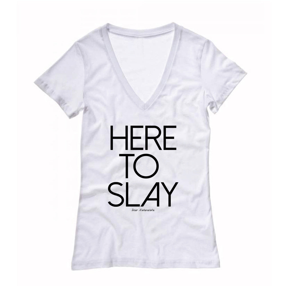 fe50b8f2b Women's Here to Slay Fitted Deep V-neck T-shirt (White/Gray) – Dear  Naturalista