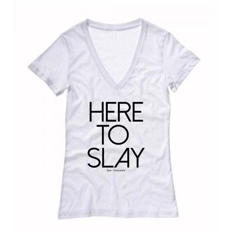 Women's Here to Slay Fitted Deep V-neck T-shirt (White/Gray)