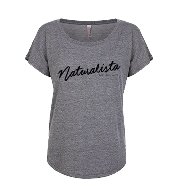 Women's Naturalista Slouchy T-shirt (heather white and heather gray blk letters)
