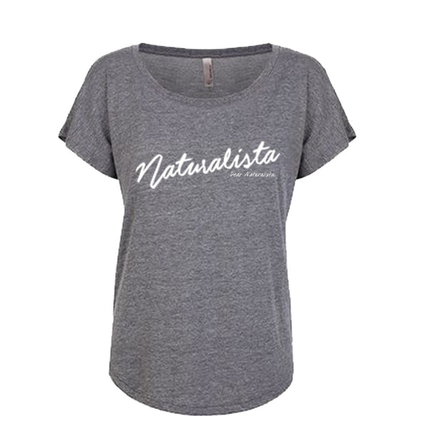 Women's Naturalista Slouchy T-shirt (vintage black and heather gray white letters)