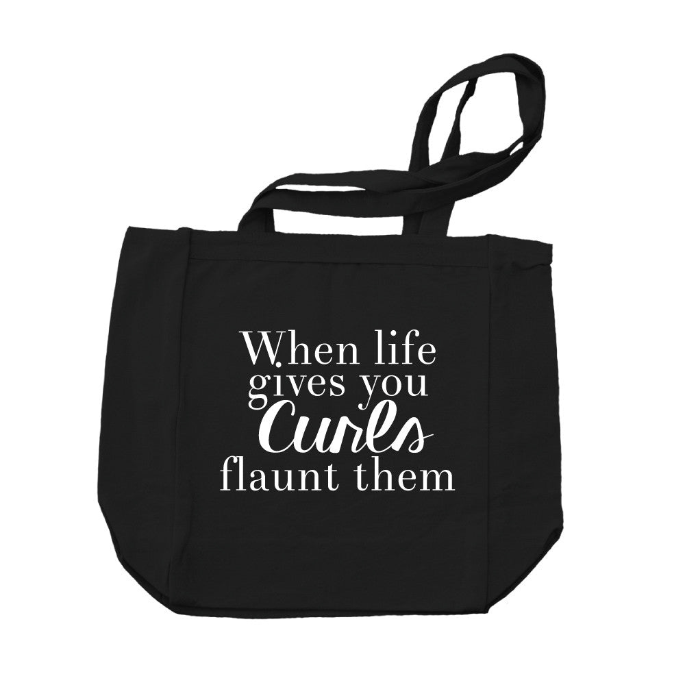 When Life Gives You Curls Canvas Tote Bag-Black