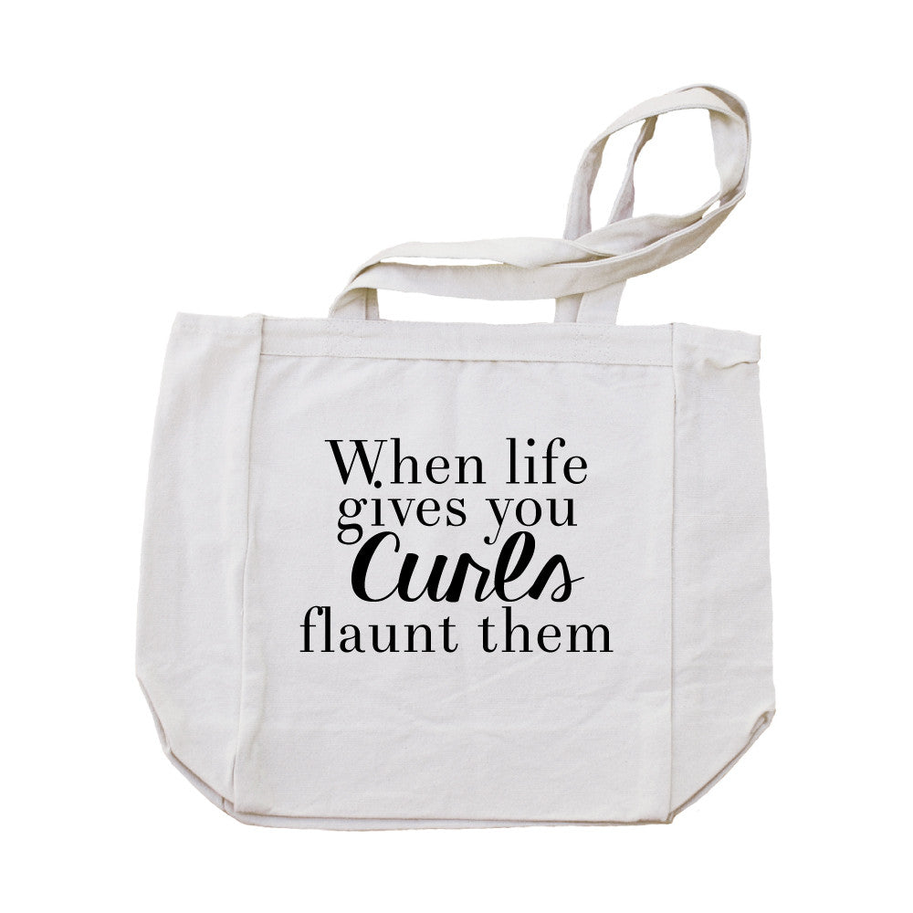 When Life Gives You Curls Canvas Tote Bag-Natural