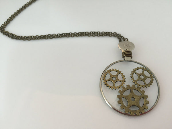 Optic Lens Necklace with Bronze Gears