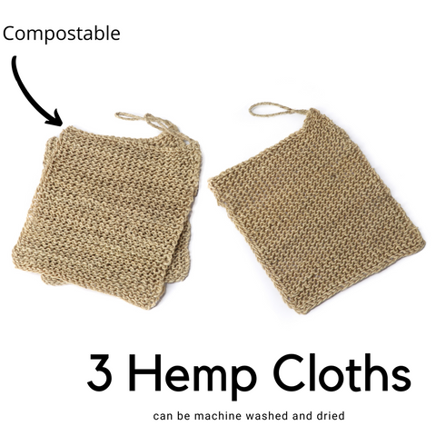 Natural Hemp Wash Cloths for Dishes (+Body Exfoliating) - Biodegradable dishwashing cloths / scrubbers - Reusable Unsponges Handmade and Fairtrade