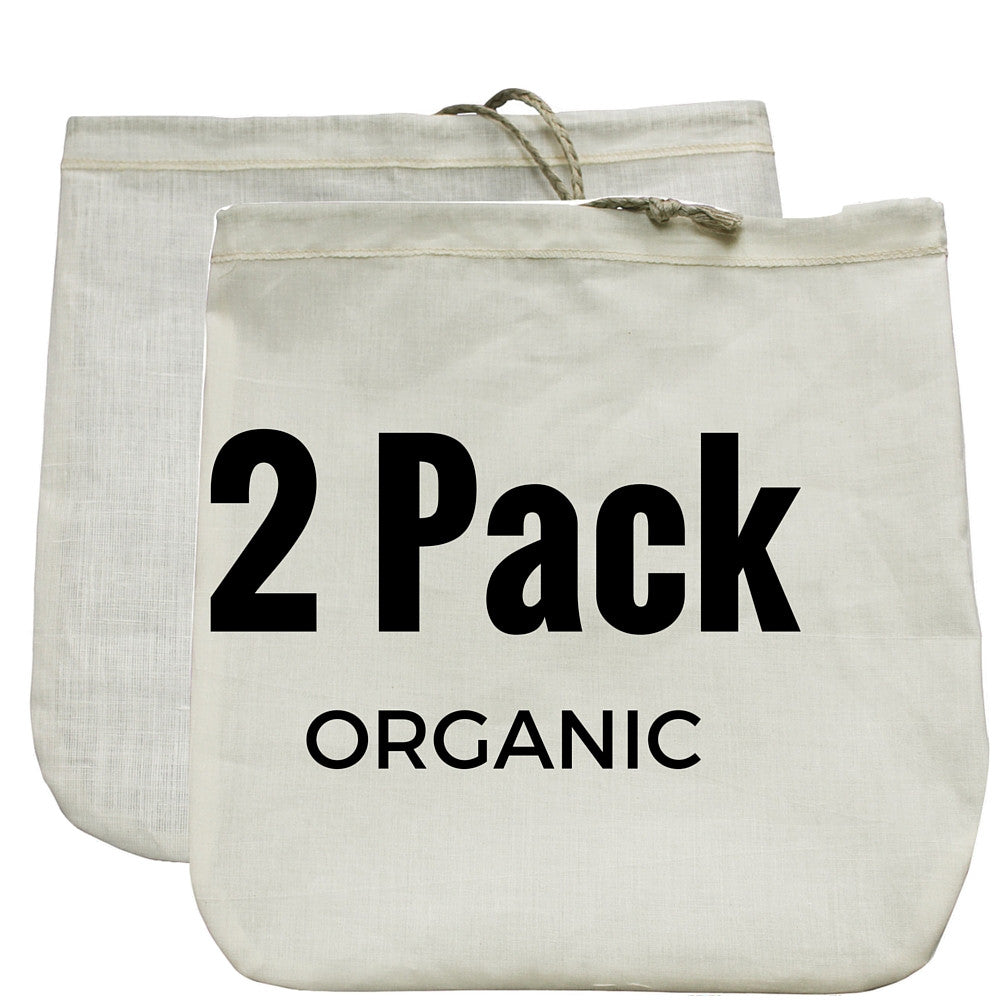 "Nut Milk Bags (Organic Hemp + Organic Cotton) 12"" x 12"" - GaiaGuy"