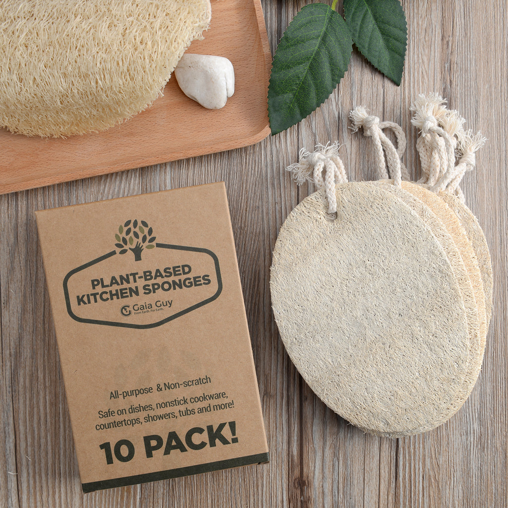 Natural Dish Sponge Value Pack, Loofah Kitchen Scrubber Scouring Pad (Plastic-Free, Nylon Free)