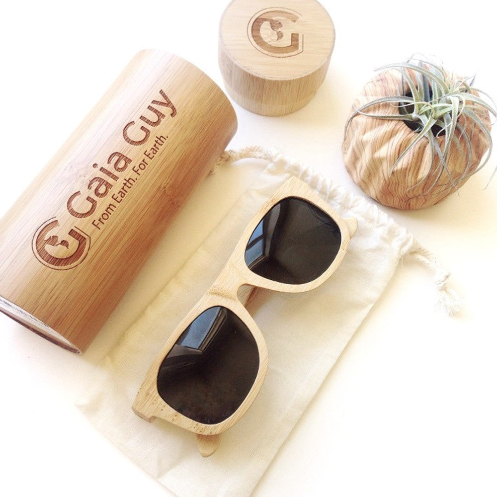 Bamboo Sunglasses & Bamboo Case, Organic Cotton Pouch, Wayfarer Style, Men - Women