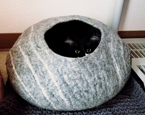 Handmade Wool Felted Cat Cave - 100% Pure Wool Made in Nepal Cat Bed