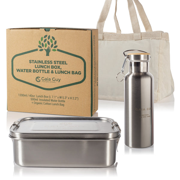 Stainless Steel Lunch Box + Insulated Reusable Bottle (Food-Grade Stainless Steel) Lunch Bag too!