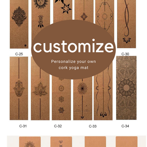 "Custom Cork Yoga Mat - Natural Cork and Rubber Personalized YOGA MAT 72"" x 24"" x 5mm or 3mm Thick. Non-slip, Best Eco-friendly Mat!"