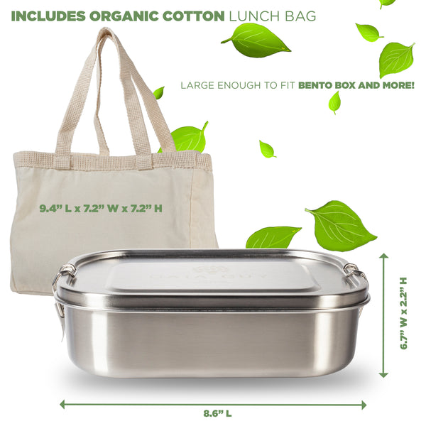 Stainless steel lunch box - Leak proof, plastic-free, reusable container - Organic Cotton Lunch Bag!