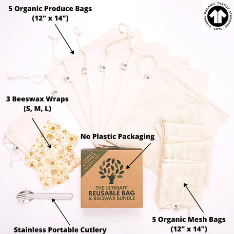 Ultimate Zero Waste Reusable Produce Bag and Farmer's Market Kit - 10 Organic Cotton Produce Bags, 3 Beeswax Wraps and Bonus To-Go Cutlery Set
