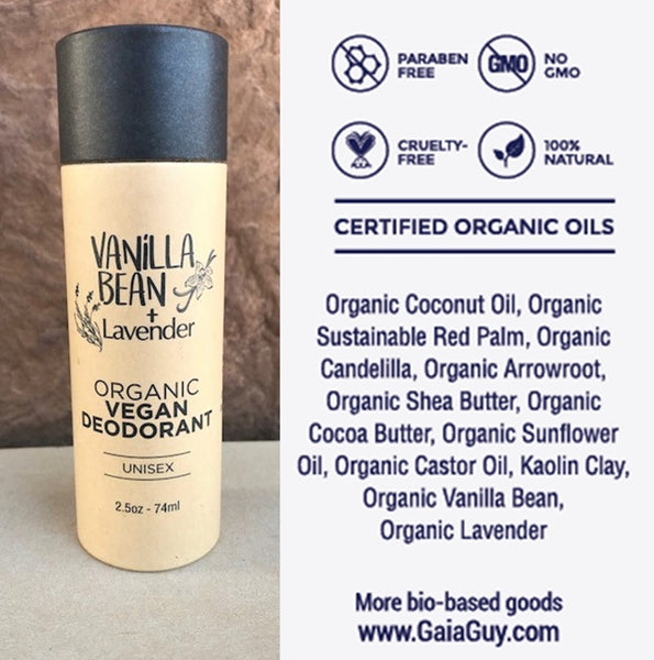 All Natural Deodorant – Organic Vegan – For Women & Men – Biodegradable Packaging 2.4oz/74ml [Scent: Vanilla Bean + Lavender]