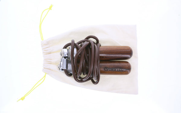 Leather Jump Rope, Solid Wooden Handles & Stainless Steel Bearings, Superior Swivel Speed Mechanism + Stainless Steel