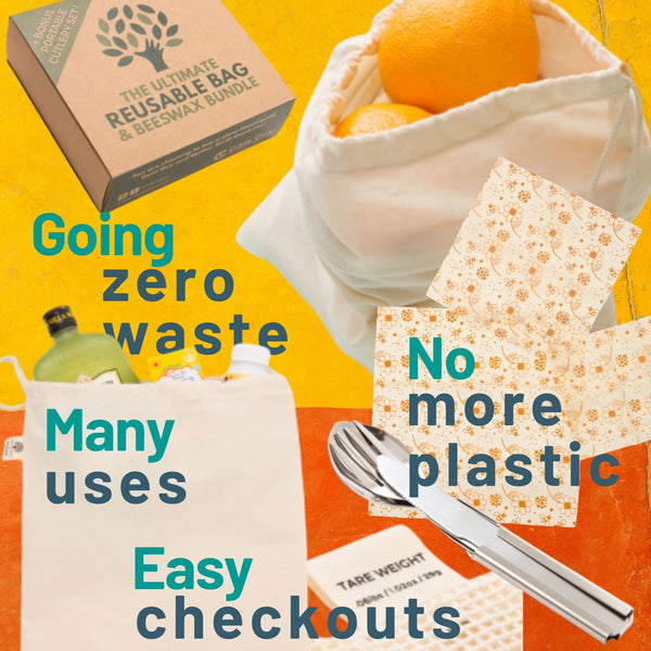 Zero Waste Starter Kit - Reusable Produce Bags - Beeswax Wraps - Stainless Steel Cutlery Set