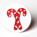 Candy Cane Two-Toned Engraved Gloss KAM Snaps Size 20 LONG PRONG