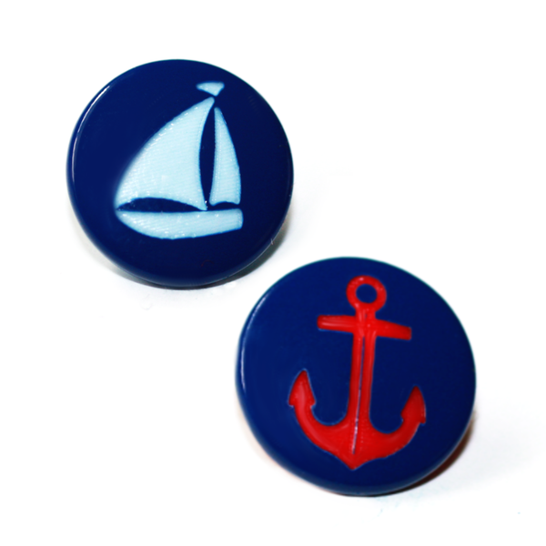 50ct/50ct Caps - Sailboat / Anchor Two-Toned Engraved Gloss KAM Snaps Size 20