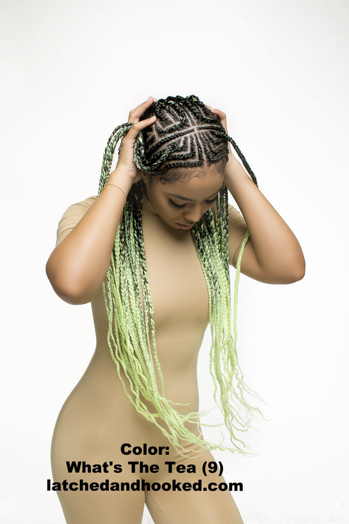 green ombre braiding hair