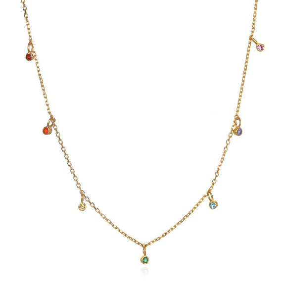 Multi Gemstone Gold Chakra Choker Necklace (14-inch +2