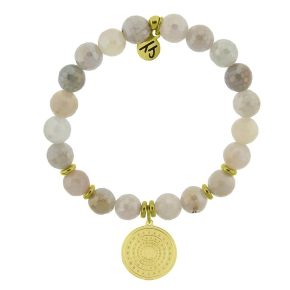 T. Jazelle Gold Collection - Moonstone Stone Bracelet with Family Circle Gold Charm