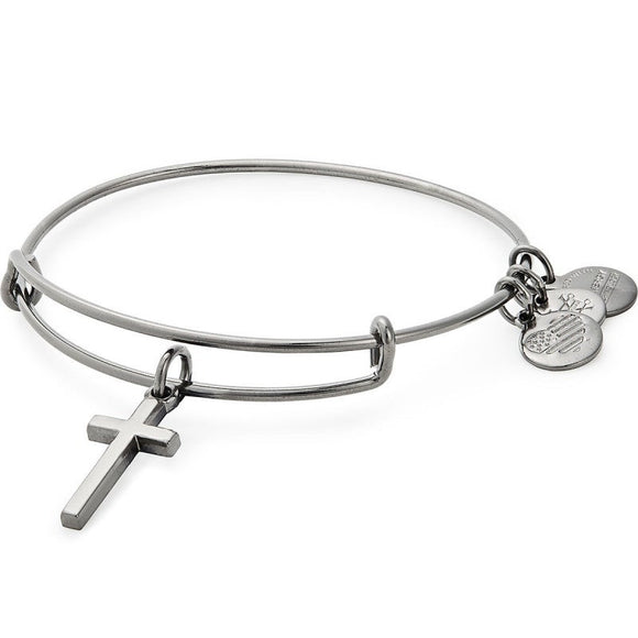 Alex and Ani Cross II Charm Bangle Midnight Silver