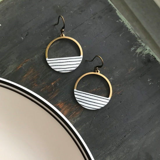 Dear Darlington Pinstripe Hoop Earrings