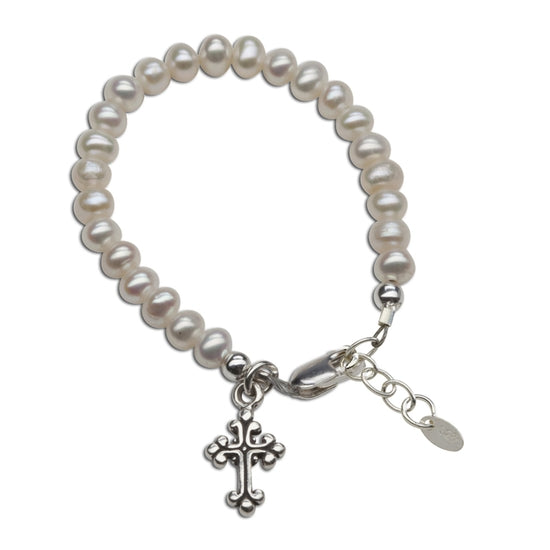 Cherished Moments Olivia - Sterling Silver Pearl Cross Baby & Childs Bracelet