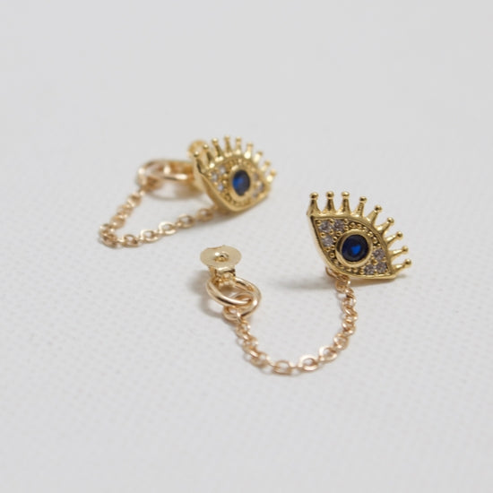 Katie Waltman Jewelry Gold Plate Evil Eye Stud With Gold Filled Chain Loop