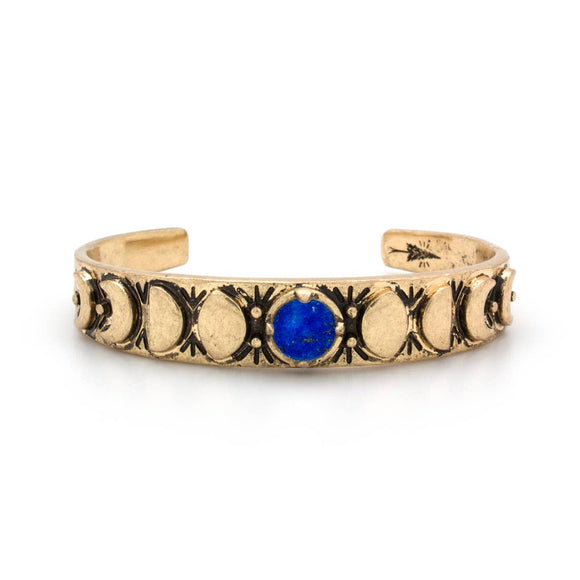 Hiouchi Jewels Moon Phases Gold Cuff Bracelet | Lapis