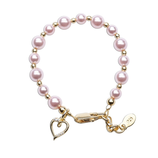 Cherished Moments Larkin - 14K Gold Plated Pink Pearl Baby Bracelet w Heart