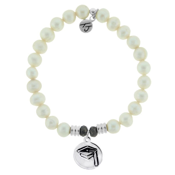T. Jazelle White Pearl Stone Bracelet with Grad Cap Sterling Silver Charm