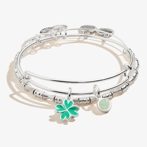 Alex and Ani Four Leaf Clover Duo Charm Bangle Set of 2 Shiny Silver
