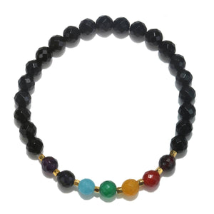 Multi Gemstone Gold Chakra Stretch Bracelet - Jewelry - SierraLily