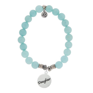 Aqua Agate Bracelet with Daughter Endless Love Sterling Silver Charm - Jewelry - SierraLily