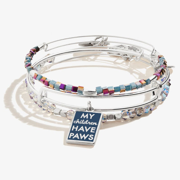 My Children Have Paws Charm Bangle Set of 3 Shiny Silver - Jewelry - SierraLily