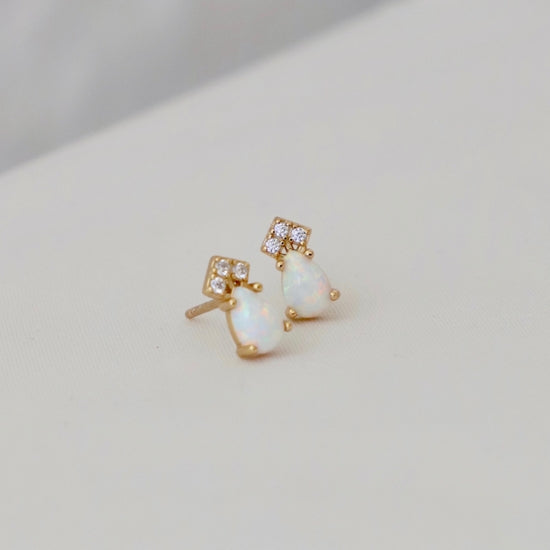 Katie Waltman Jewelry Teardrop CZ and White Opal Studs Gold