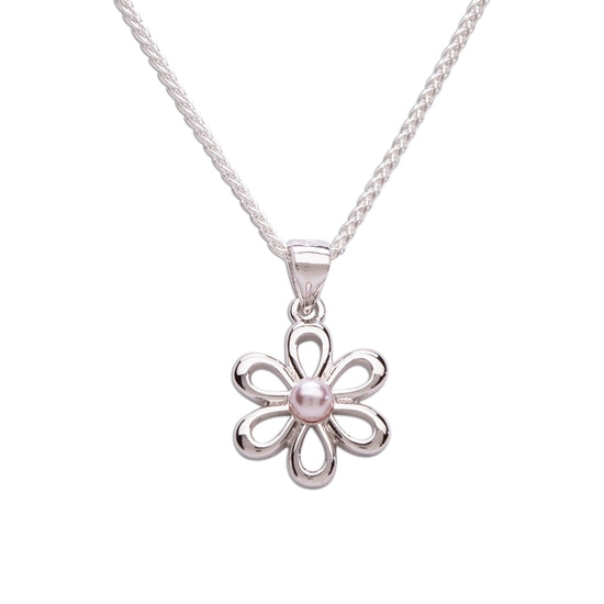 Cherished Moments Sterling Silver Girls Pink Pearl Daisy Flower Necklace for Kids