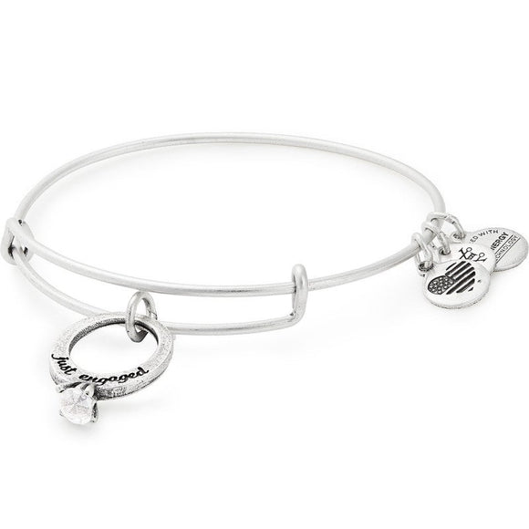 Alex and Ani Just Engaged Charm Bangle Silver