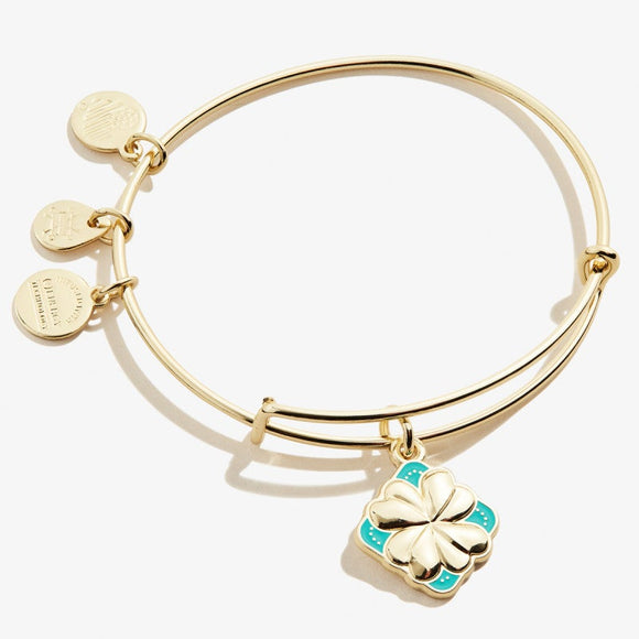 Alex and Ani Four Leaf Clover Color Infusion Charm Bangle Shiny Gold