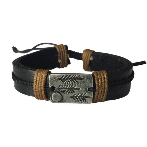 Anju Jewelry Pewter Adjustable Leather Bracelet
