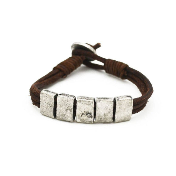 Anju Jewelry Aadi Brown Leather Men's Bracelet with Silver Beads