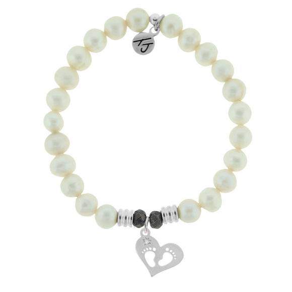 White Pearl Stone Bracelet with Baby Feet Sterling Silver Charm - Jewelry - SierraLily
