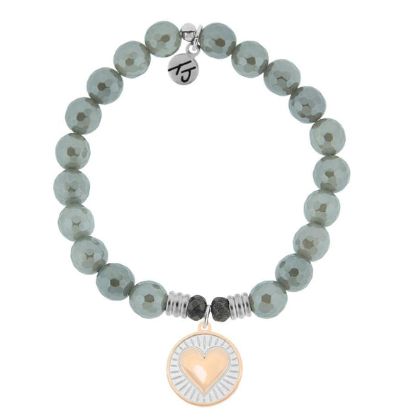Grey Agate Stone Bracelet with Heart of Gold Sterling Silver Charm - Jewelry - SierraLily
