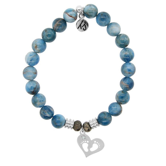 Arctic Apatite Stone Bracelet with Baby Feet Sterling Silver Charm - Jewelry - SierraLily