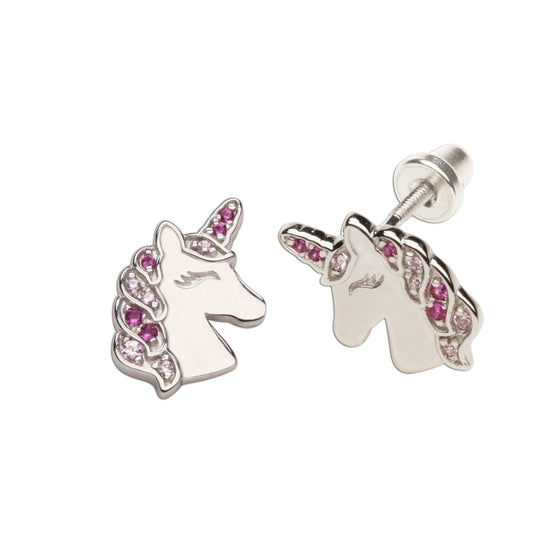 Cherished Moments Sterling Silver Girls Screw-Back Unicorn Earrings Kids